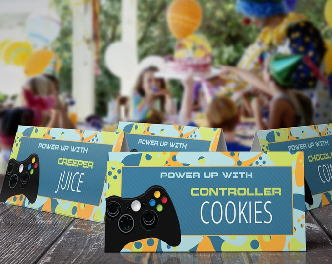 Video Game Food Labels- Video Game Party, Video Game Birthday, Blue Camo | Editable Text - INSTANT Download Printable PDF