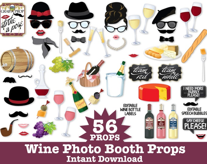 Wine Photo Booth Props - Wine Tasting Props, New Year's Props, Champagne Props - Instant Download PDF - 56 DIY Printable Props