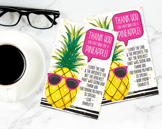 Pineapple Thank You Card - Pineapple Party, Party Like a Pineapple, Hawaiian, Luau | Self-Editable Text DIY INSTANT DOWNLOAD Printable