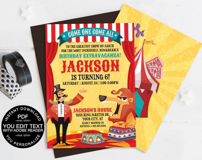 Carnival / Circus Invitation, Carnival Party, Circus Invitation - Lion | Self-Editing Text DIY INSTANT Download Printable SEM101_3
