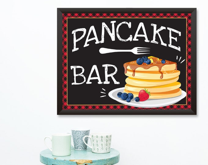 Pancake Bar Sign - 18x24 Sign / Poster, Pancake & Pajama's Party, Flapjack Party Sign | INSTANT Download DIY Printable PDF