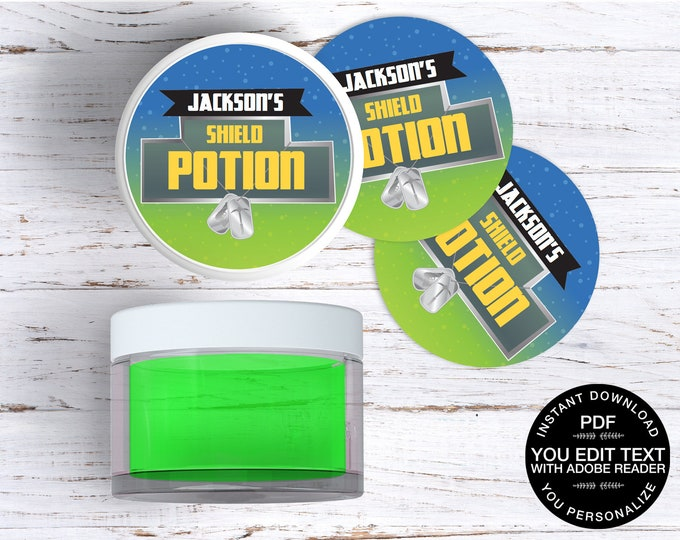 """Video Game Shield Potion  2"""" Slime Jar Labels, Game Truck, Slime Party, Sticker 