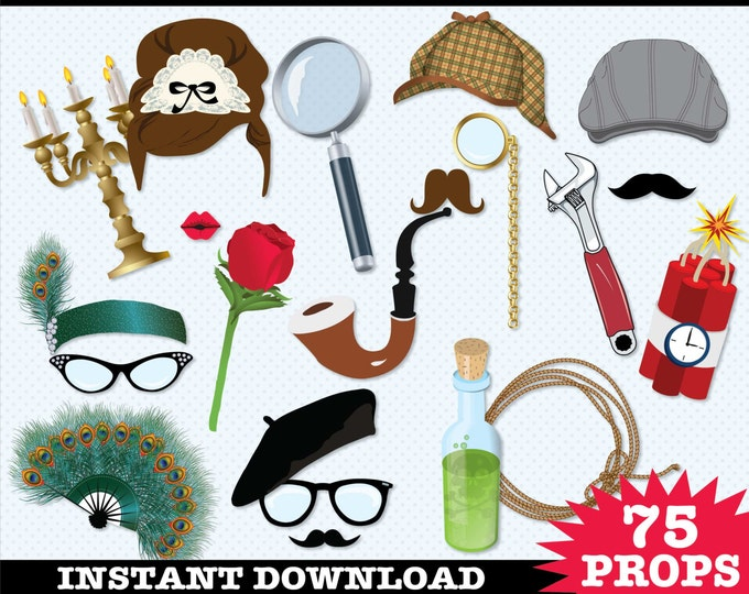 Detective - Murder Mystery Photo Booth Props - Clue Birthday Party, Who Done It Party - Instant Download PDF - 75 DIY Printable Props