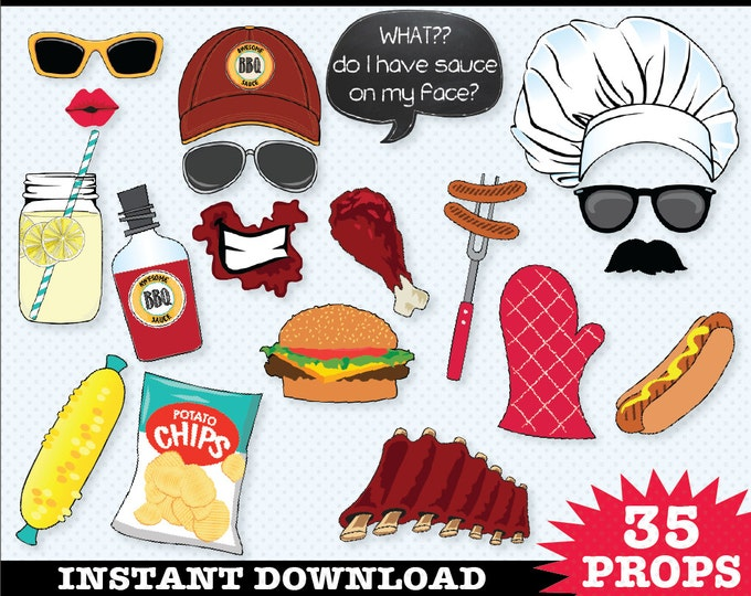 BBQ Photo Booth Props - I Do bbq, BabyQ Shower, bbq Birthday, bbq Wedding, bbq shower - Instant Download pdf - 35 D.I.Y. Printable Props