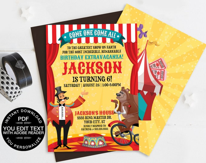 Carnival / Circus Invitation, Carnival Party, Circus Invitation - Bear | Self-Editing Text DIY INSTANT Download Printable SEM101_2