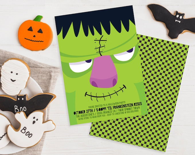 Frankenstein Party Invitation - Monster Mash, Halloween Party, Costume Party | Editable Text - DIY Instant Download PDF Printable