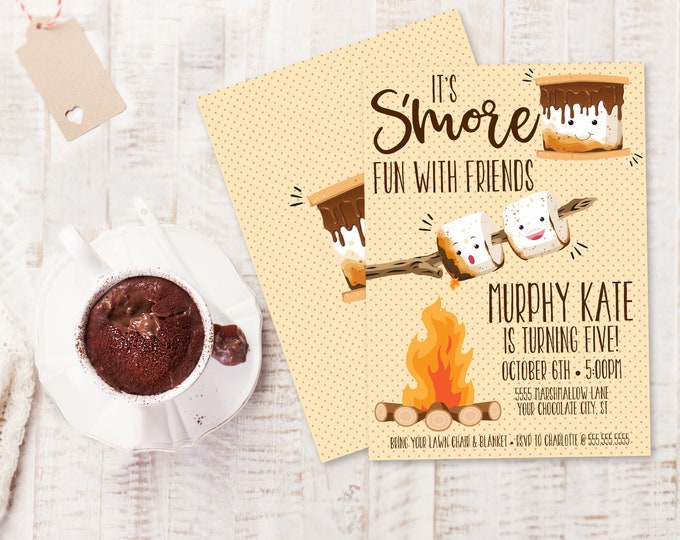 S'more Party Invitation - S'more Bar Party, S'more Birthday, S'more Fun, Bonfire | You Edit Text - Instant Download PDF Printable Template