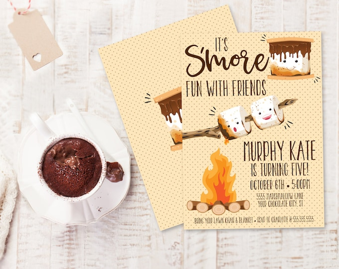 S'more Party Invitation - S'more Bar Party, S'more Birthday, S'more Fun, Bonfire | Editable Text - DIY Instant Download PDF Printable