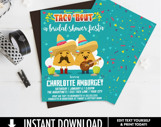 Taco 'bout... a Bridal Shower Invitation - Cinco De Mayo, Fiesta Shower Party | Self-Editing with CORJL - INSTANT DOWNLOAD Printable