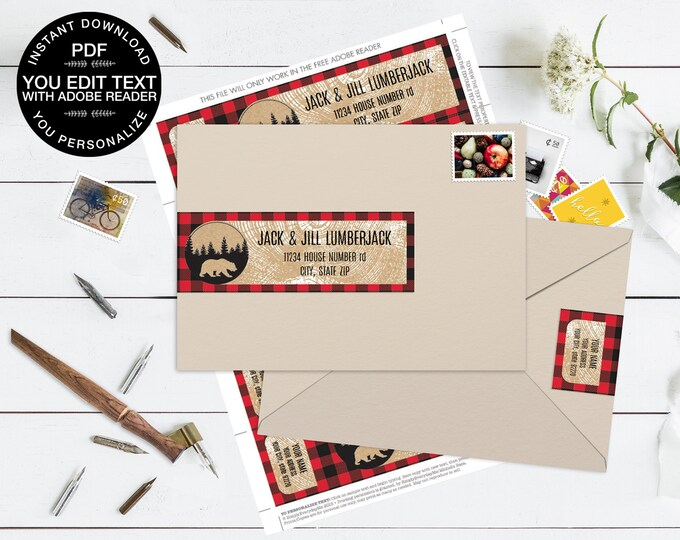 Lumberjack Wrap Address Printable Labels - Bear Lumberjack Birthday, Buffalo Plaid | Editable Instant Download DIY Printable PDF