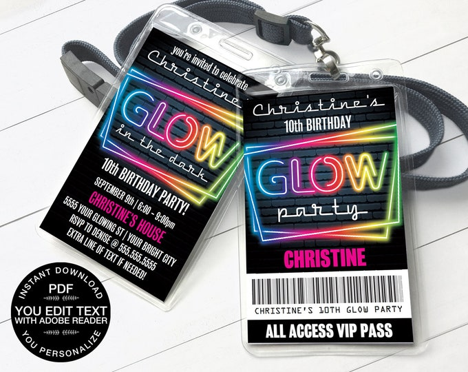 Neon Glow Invitation Party Badge, Neon Glow VIP Badge, Glow Party Invite | Self-Editing Text D.I.Y. Editable Text INSTANT DOWNLOAD Printable
