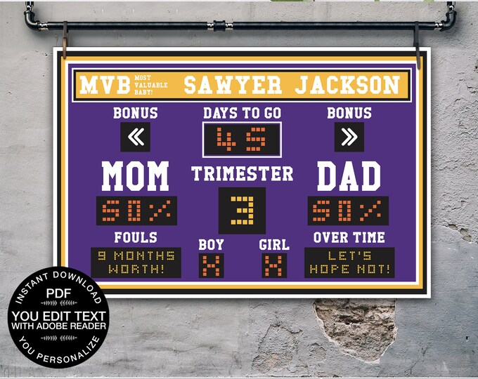 "Baby Shower Scoreboard Printable 24""x36"" Poster - Scoreboard Sign, Baby Scoreboard | Self-Editing Text INSTANT Download DIY Printable PDF"