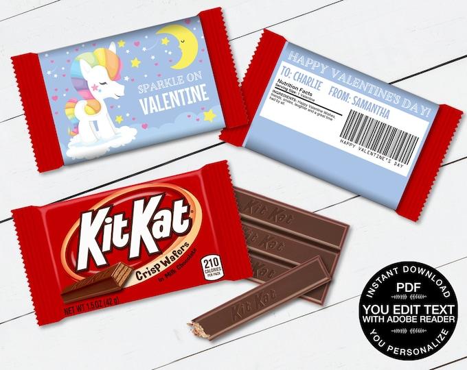 Unicorn Valentine Kit Kat Candy Bar Label/Wrapper - Valentine's Day Favor | D.I.Y. Editable Text INSTANT DOWNLOAD Printable