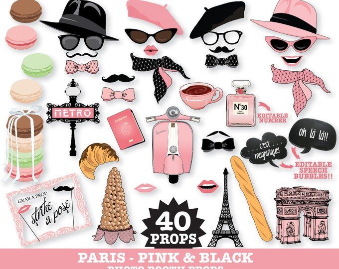 Paris Photo Booth Props - Paris Baby Shower, Chanel Party, Parisian, Wedding - Pink - Instant Download PDF - 40 DIY Printable Props