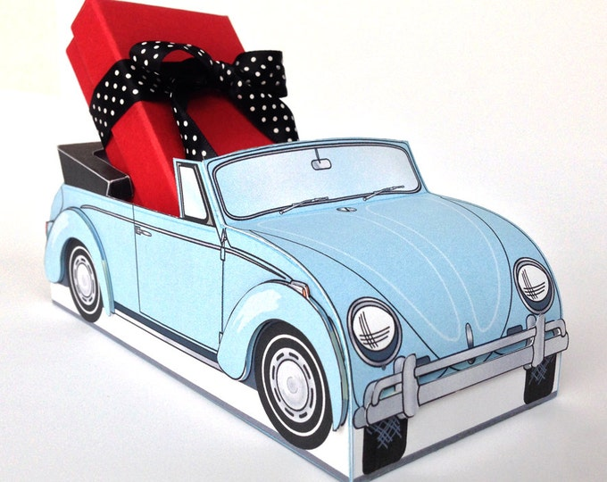 Beetle Bug Box - Retro Car Favor Box, Baby Shower, Wedding, Cupcake Box, Food Tray - BLUE - Instant download DIY Printable PDF Ki