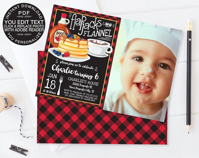 Flapjacks & Flannel PHOTO Invite - Flapjack Birthday Party, Lumberjack | Click Replace Photo with Editable Text INSTANT Download Printable