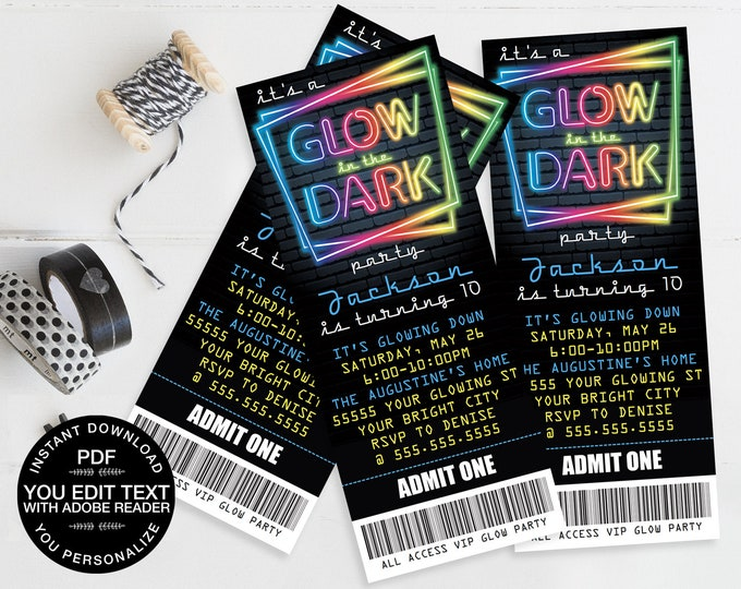 Neon Glow Party Ticket Invitation - Neon Glow Birthday, Glow Party Theme, blue | Self-Edit Text - Instant Download DIY Printable PDF