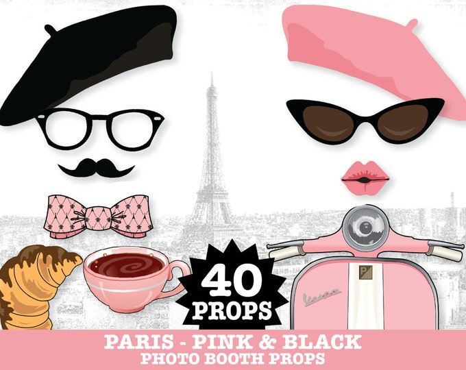 Paris Photo Booth Props - Sweet 16, Parisian, Chanel Party, Birthday Party  - Instant Download PDF - 40 DIY Printable Props