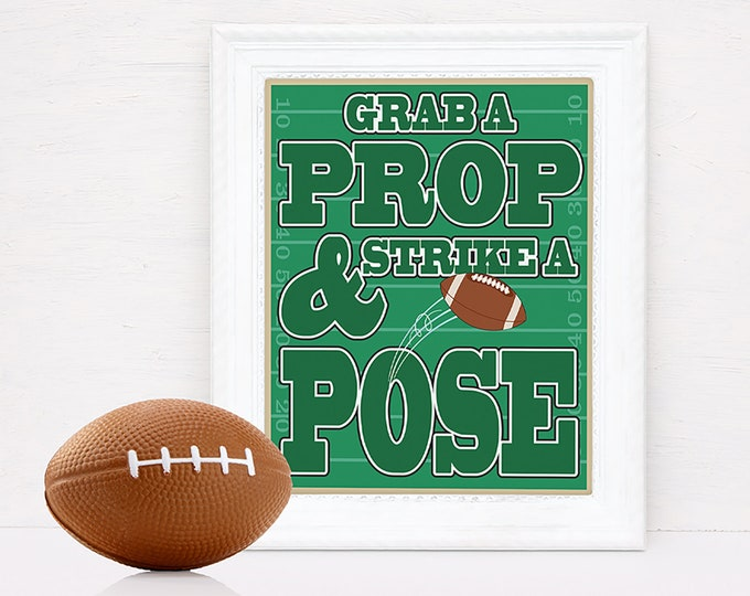 Football Photo Booth Prop Sign - Pre-Typed Party Sign, Football Prop Sign | INSTANT Download Printable PDF
