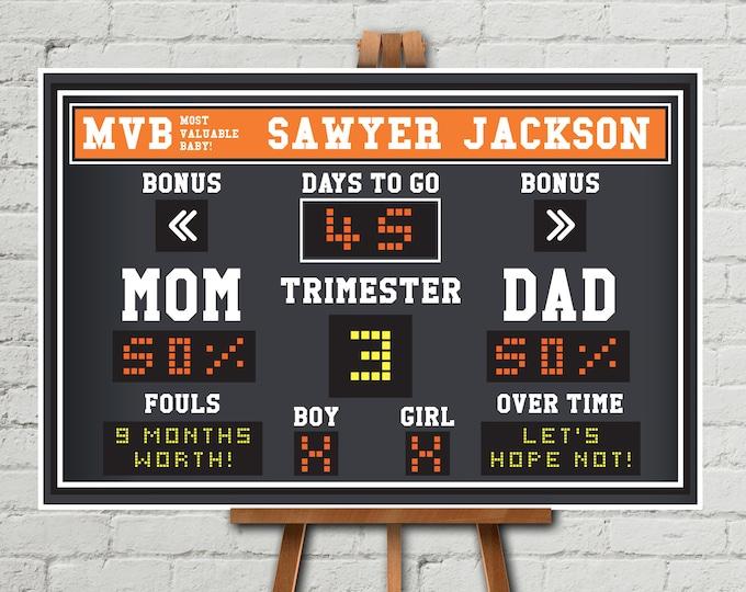 "Baby Shower Scoreboard Printable 24""x36"" Poster - Scoreboard Sign, Baby Scoreboard   Self-Editing Text INSTANT Download DIY Printable PDF"