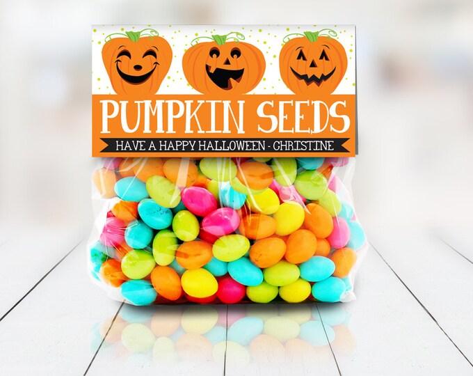 "Pumpkin Seeds Treat Baggie Toppers - Halloween Party, Halloween Favor, 4"" Treat Bag Topper | Editable Instant Download DIY Printable PDFs"