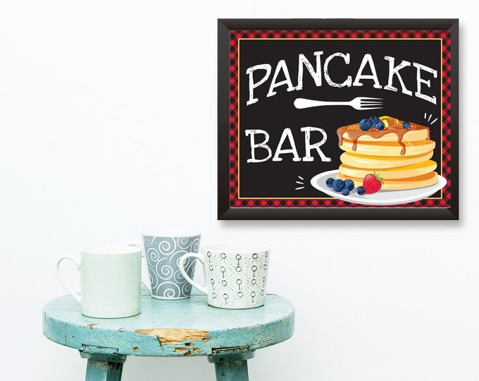 Pancake Bar Sign- 8x10 Party Sign, Pancake & Pajama's Party, Flapjack Party Sign | INSTANT Download DIY Printable PDF