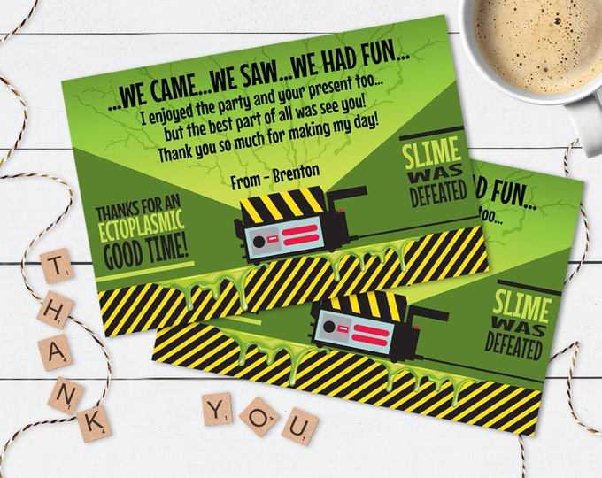 Ghostbuster Party Thank You Card - Thank You, Birthday Party, Halloween Party | DIY Editable Text Instant Download PDF Printable