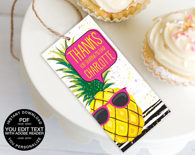 Pineapple Favor Tag - Party Like a Pineapple, Hawaiian, Luau, Birthday, Pineapple Party | Self-Editable Text DIY INSTANT DOWNLOAD Printable