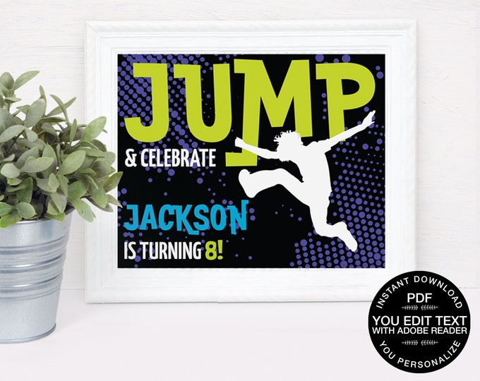 """Jump Party 8"""" x 10"""" Sign - Trampoline Birthday, Trampoline Party, Jump & Play, Bounce On Over   DIY Editable Text INSTANT DOWNLOAD Printable"""