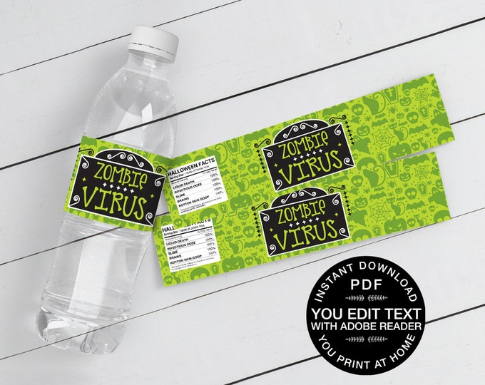 Zombie Virus Water Bottle Wrappers/Labels - Drink Label, Halloween Party | Self-Editing Text Instant Download DIY Printable PDF