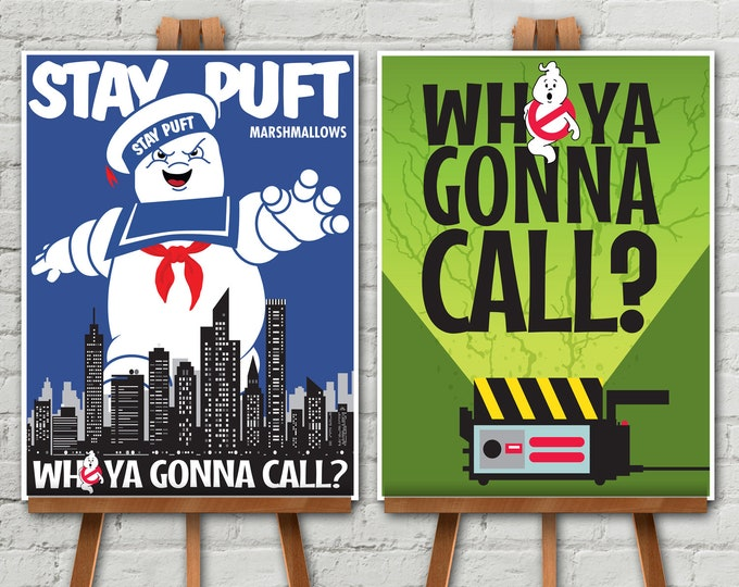"Ghostbuster Party Poster Set - 18""x24"" Poster, Ghostbuster Birthday, Halloween Party, 2 Poster Set 