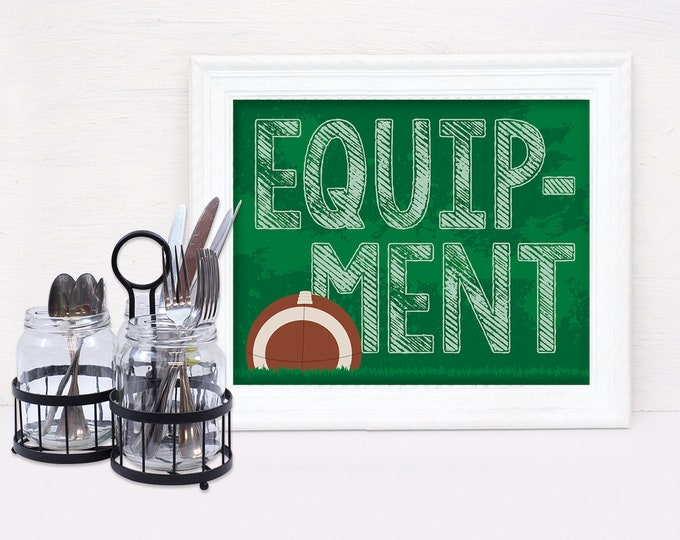 "Football - Equipment 8"" x 10"" Signs - Football Party, Bowl Party, Football Decor 
