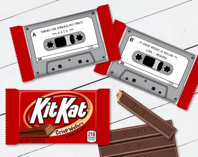 Cassette Tape Kit Kat Candy Bar Label/Wrapper - Retro Party Favor, 80's Party, Gray | D.I.Y. Editable Text INSTANT DOWNLOAD Printable