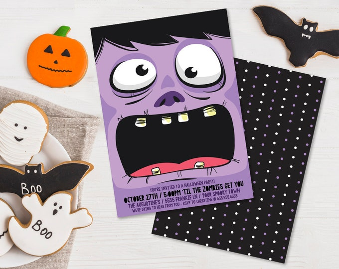 Zombie Party Invitation - Monster Mash, Halloween Party, Costume Party | Editable Text - DIY Instant Download PDF Printable