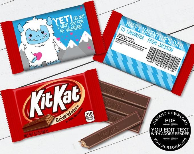Yeti Valentine Kit Kat Candy Bar Label/Wrapper - Valentine Party Favor, Valentine Card | D.I.Y. Editable Text INSTANT DOWNLOAD Printable
