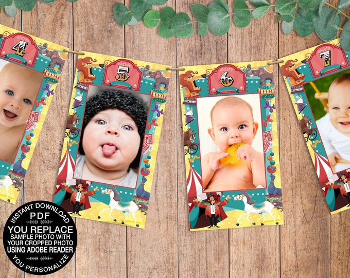 Carnival - Circus First Year Photo Banner - 13 Month Photo Banner | Click & Replace Photo | INSTANT Download DIY Printable PDFs - SEM101_5