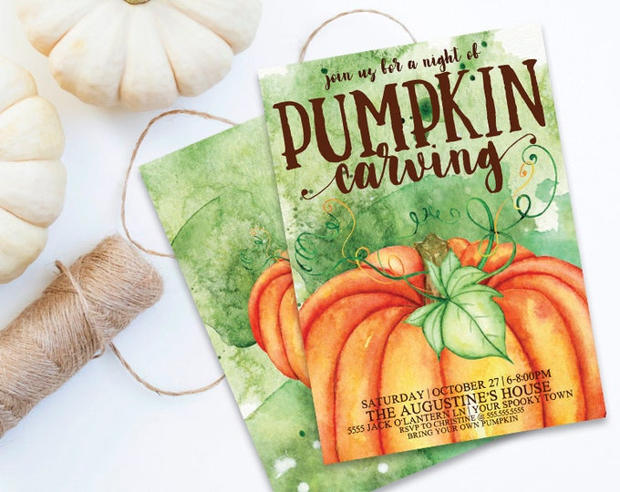 Pumpkin Carving Party Invitation - Fall Party, Pumpkin Invitation, Autumn Party | Self-Editing DIY Editable Text INSTANT DOWNLOAD Printable