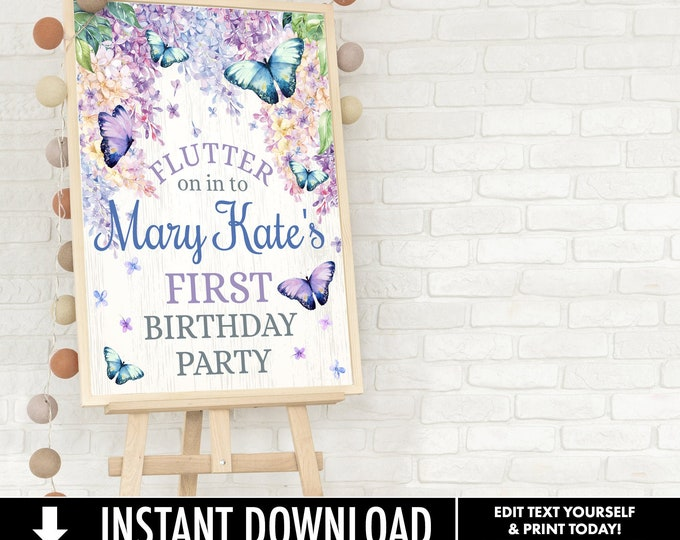 Butterfly Party 18x24 Welcome Poster - Butterflies & Flowers Poster, Spring Garden Party | Self-Edit with CORJL - INSTANT DOWNLOAD Printable