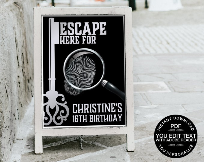 """Escape Room Party 18""""X24"""" Poster, Mystery Party Sign, Birthday Party Sign 
