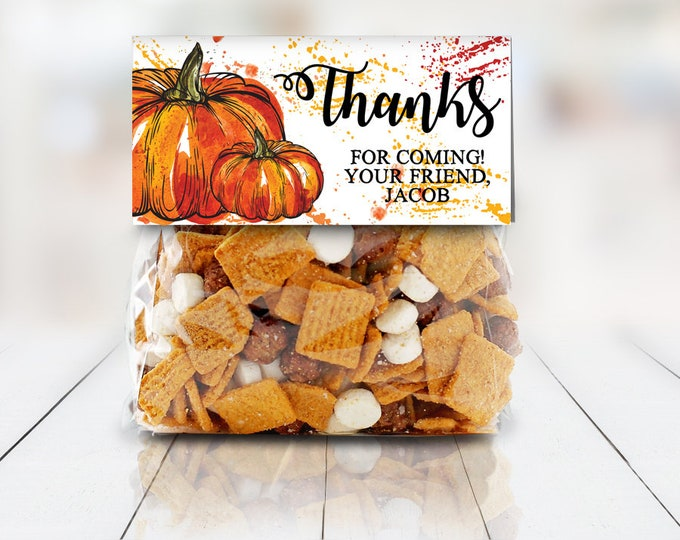 """Pumpkin Carving Party Treat Toppers - Halloween Party, Halloween Favor, 4"""" Treat Bag Topper 