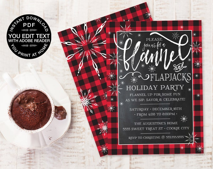 Flannel & Flapjacks Invitation - Buffalo Plaid, Holiday Party, Christmas Party, Winter Party   Editable Text Instant DOWNLOAD PDF Printable