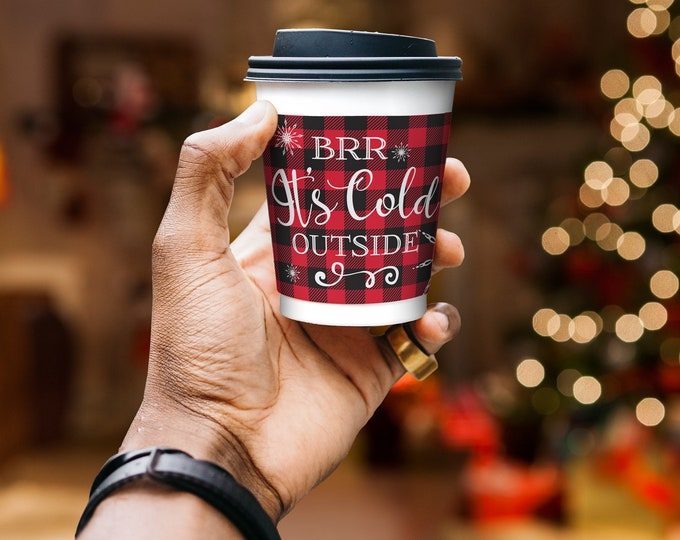Cup Wrap - Brr It's Cold Outside, Hot Chocolate Bar, Hot Cocoa, Flannel & Frost, Buffalo Plaid | Pre-Typed INSTANT DOWNLOAD Printable