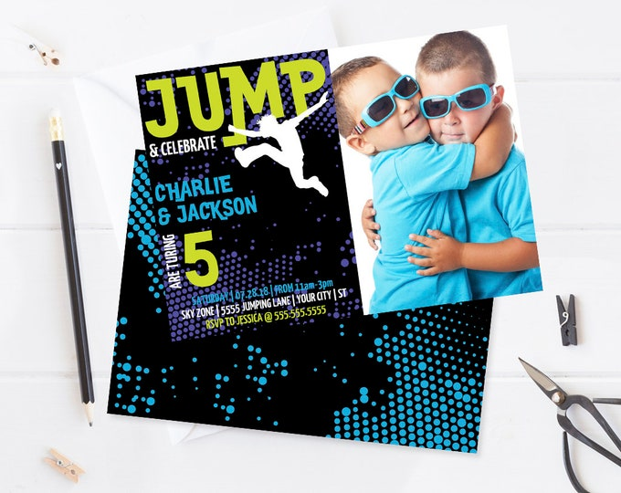 Twin Jump Party Photo Invitation Printable - Trampoline Party, Jump & Play, Bounce On Over | Editable Text-Instant Download PDF Printable