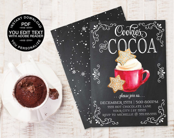 Cookies & Cocoa Invitation, Hot Chocolate Party, Cookie Decorating, Snowflake Cookie Party   Editable Text, Instant Download PDF Printable