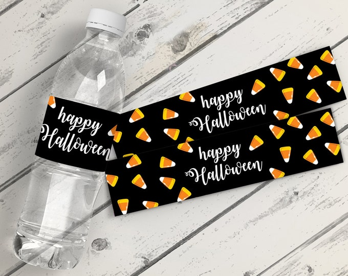 Candy Corn Water Bottle Wrappers - Halloween Party, Halloween Water Bottle Wraps, Water Bottle Labels | Instant Download DIY Printable PDFs
