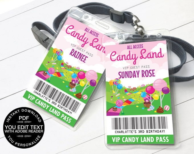 Candy Land Party VIP Badge, Candyland All Access Pass, ID badge, Party Favor Badge | Self-Editing Text INSTANT Download Printable