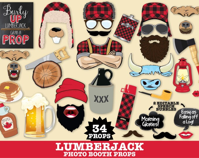 Lumberjack Photo Booth Props - Lumberjack & Jill, Woodland Party, Great Outdoors - Instant Download PDF - 34 DIY Printable Props