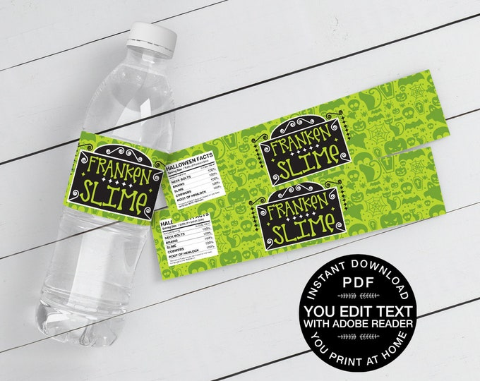 Frankenslime Water Bottle Wrappers/Labels - Halloween Party, Frankenstein | Self-Editing Text Instant Download DIY Printable PDF