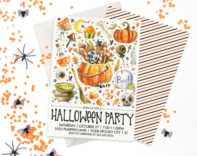 Halloween Party Invitation - Trick or Treat, Halloween Party, Costume Party | Editable Text - DIY Instant Download PDF Printable