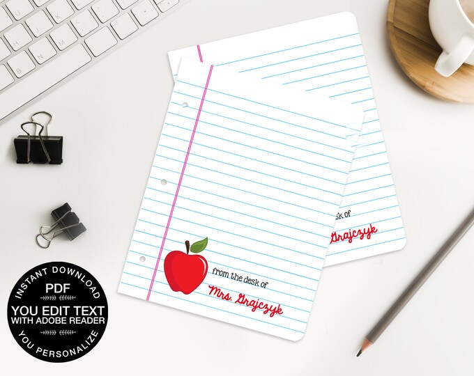Personalized Apple Teacher Notes Cards - Editable - for Teacher Gifts or Back to School - INSTANT download DIY Printable PDF Kit
